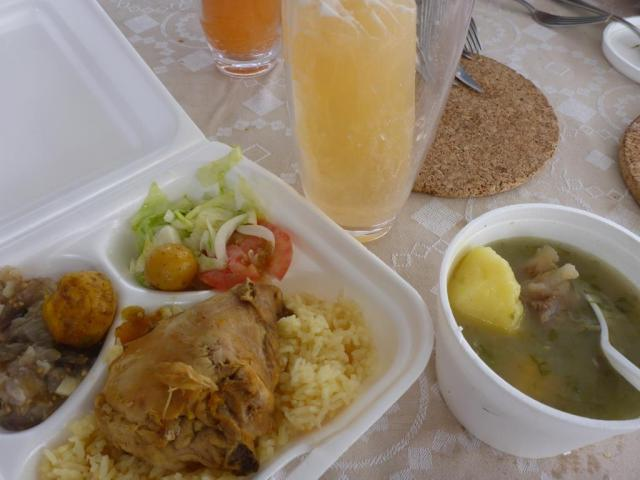 Canteen lunch at the shipyard: baked chicken, rice, potatoes, coriander soup and melon juice