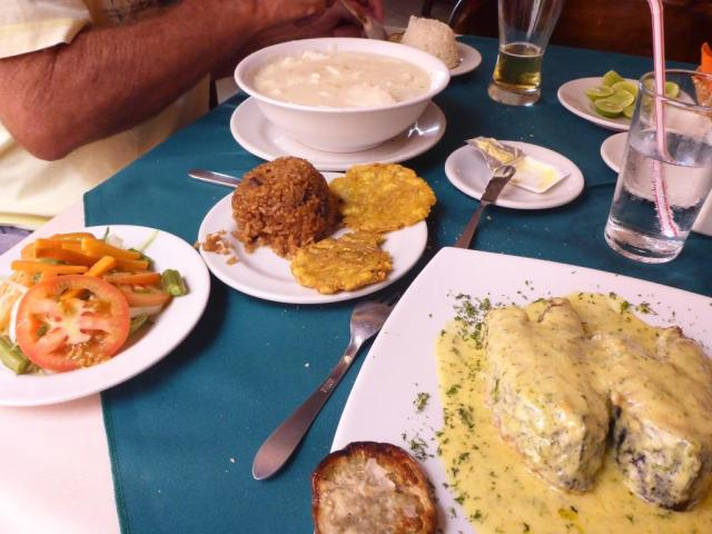 Gourmet lunch: name & queso soup, brown coconut rice, fish in garlic sauce...feeling stuffed!