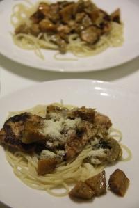 Chicken. creamy pumpkin and mushroom pasta