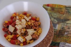 Dried beef and egg with corn salsa