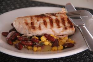 grilled fish with beans and corn salad