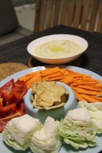 Hummus and deconstructed salad