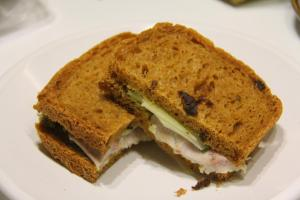 Tomato bread, smoked chicken, avocado and cheese