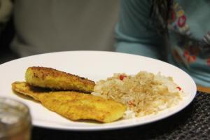 tumeric fish with capsicum rice