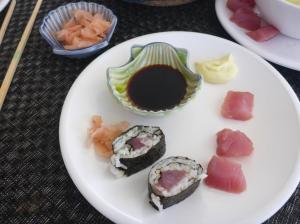Tuna sushi and sashimi