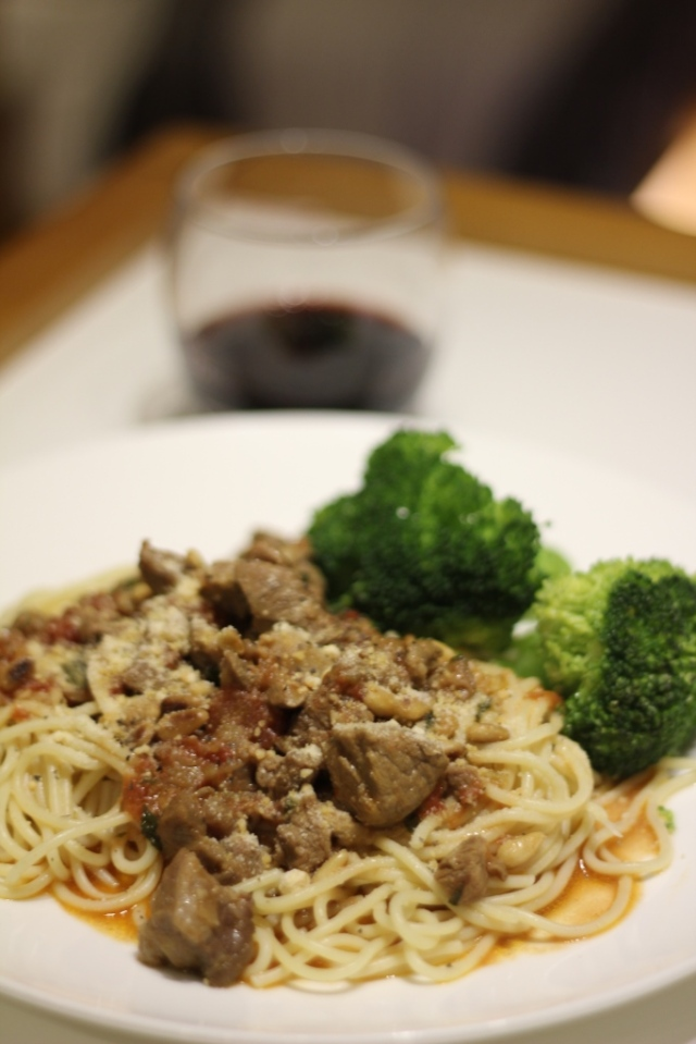 spaghetti with lamb sauce