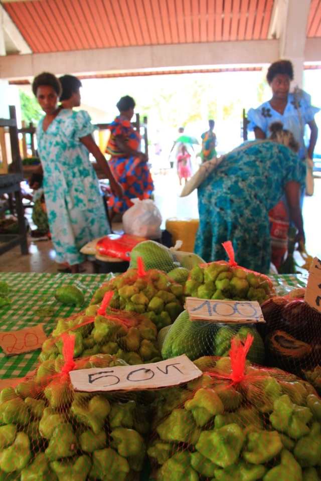 Tiny green peppers, from the Port Vila market