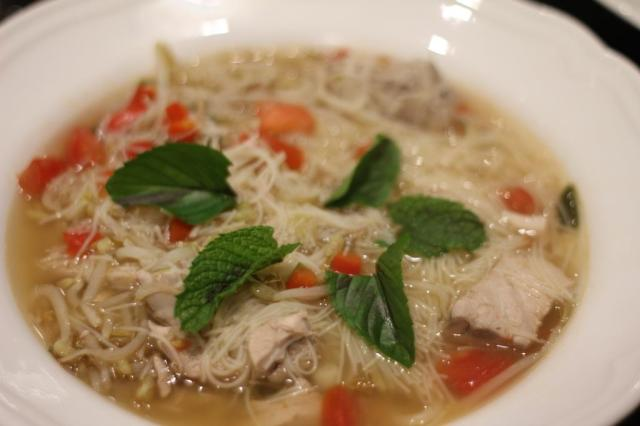 thai style fish soup with australian salmon