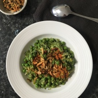 Broccoli and Pea Mash with Miso Soup